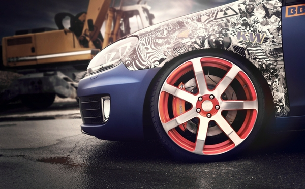 blue cars rims volkswagen golf wheel_www.wall321.com_25